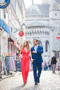 Couple walking in Montmartre