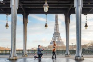 Surprise proposal in Paris under bridge at Eiffel Tower