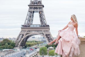 high-low pink dress at Eiffel tower