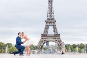 Surprise engagement photo session at Eiffel Tower