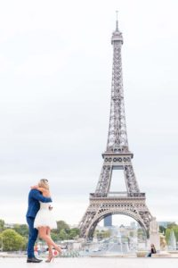 Surprise engagement photo at Eiffel Tower