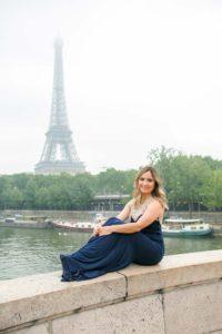 Romantic engagement picture at Eiffel Tower bridge