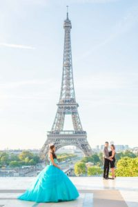 Quinceanera family at Eiffel Tower