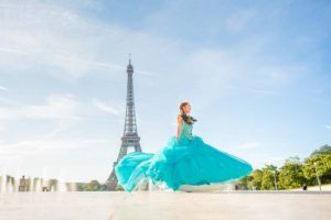 Quinceanera dancing at Eiffel Tower
