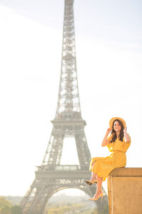 Yellow summer dress for a Paris photo session